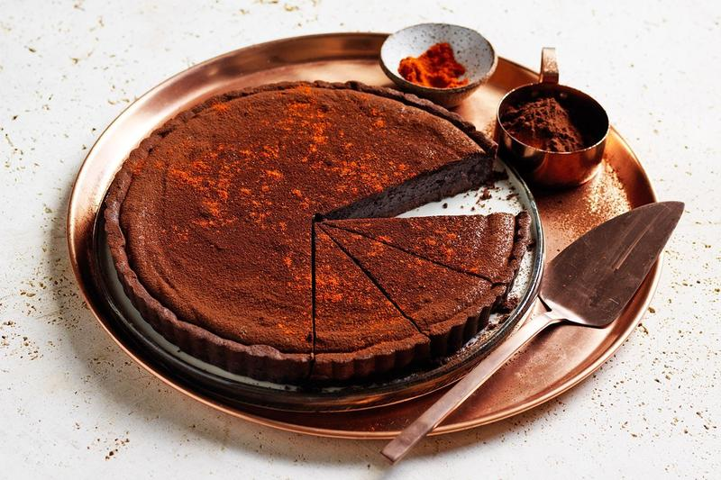 Ancho Chilli And Date Chocolate Tart