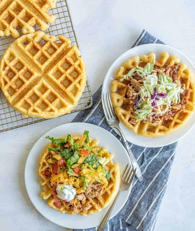 Cornmeal Waffles With Pork Verde