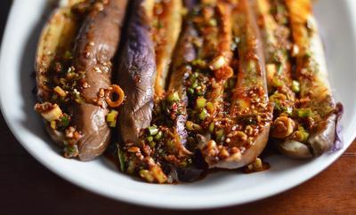 Korean Style Steamed Eggplant