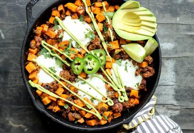 Sweet Potato Chorizo Hash Eggs And Avocado Crema